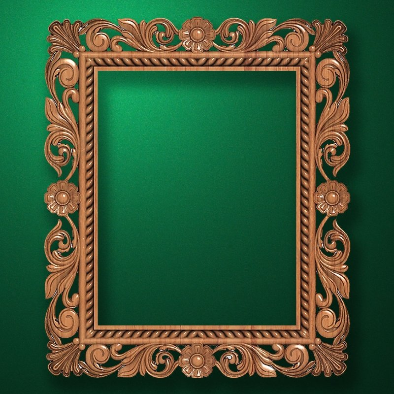"Carved wood frame  ""Rectangular frame-034"""
