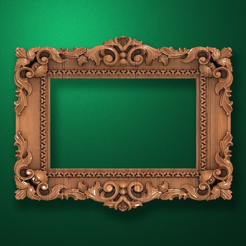 "Carved wood frame  ""Rectangular frame-038"""