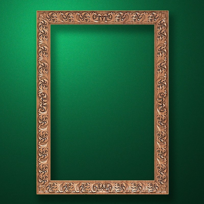 "Carved wood frame  ""Rectangular frame-039"""
