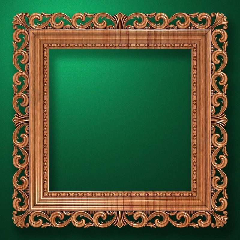 "Carved wood frame  ""Square frame-005"""