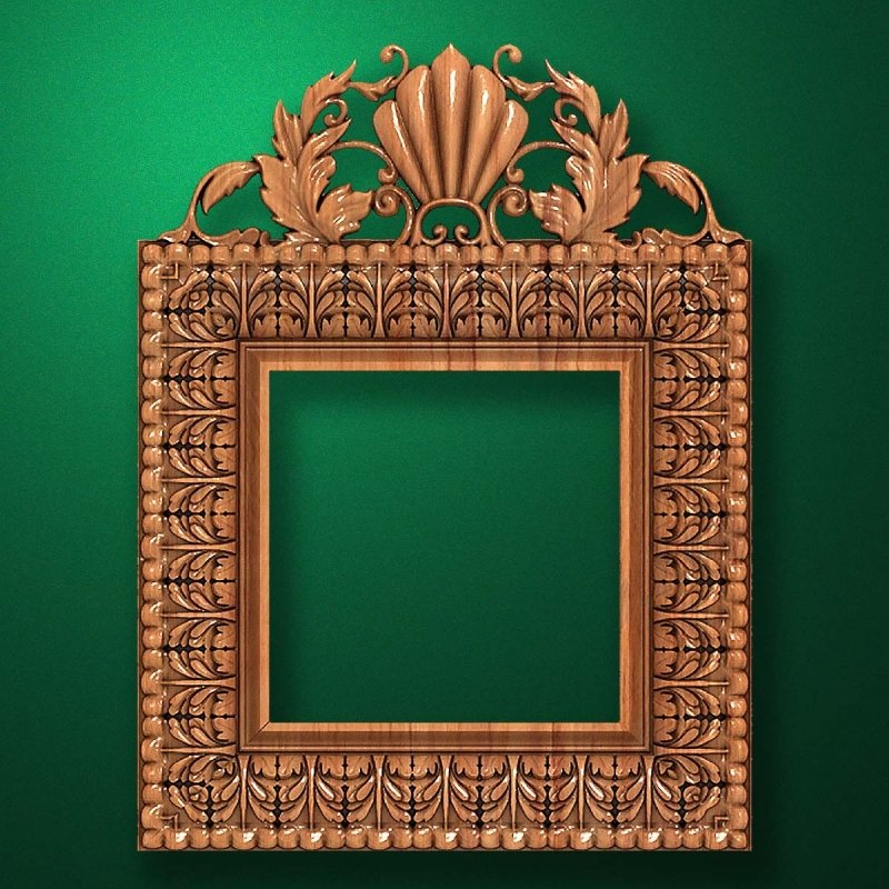 "Carved wood frame  ""Square frame-008"""