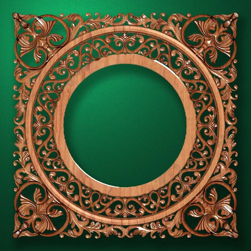 "Carved wood frame  ""Round frame-006"""