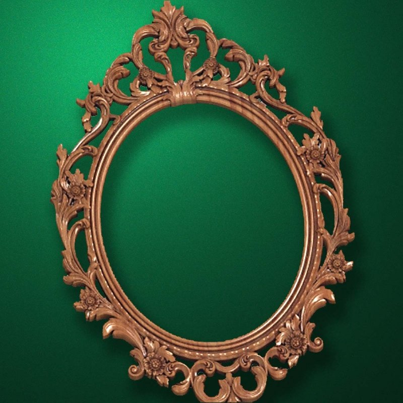 "Carved wood frame  ""Oval frame-002"""