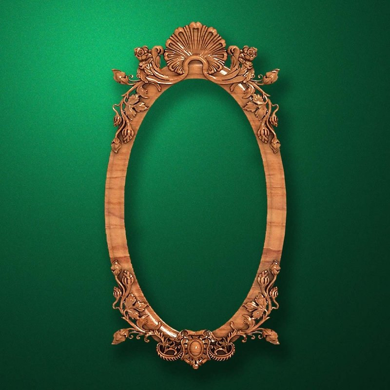 "Carved wood frame  ""Oval frame-003"""