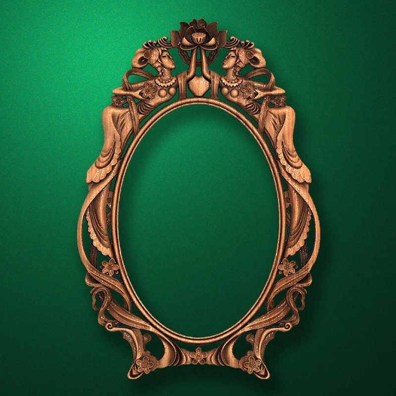"Carved wood frame  ""Oval frame-005"""