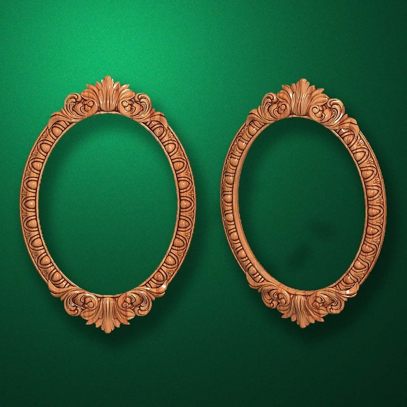"Carved wood frame  ""Oval frame-007"""