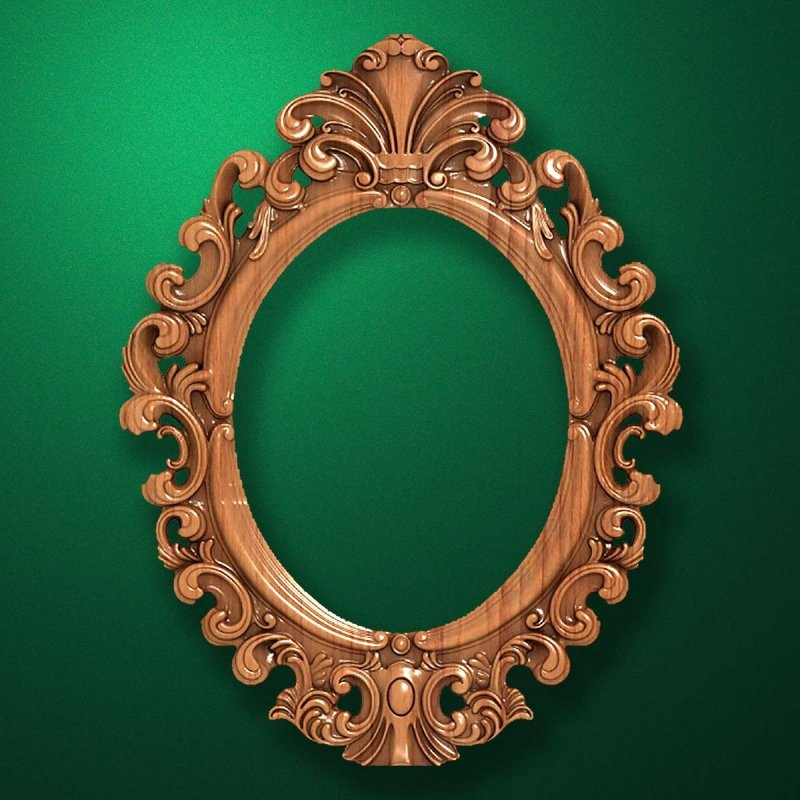 "Carved wood frame  ""Oval frame-008"""