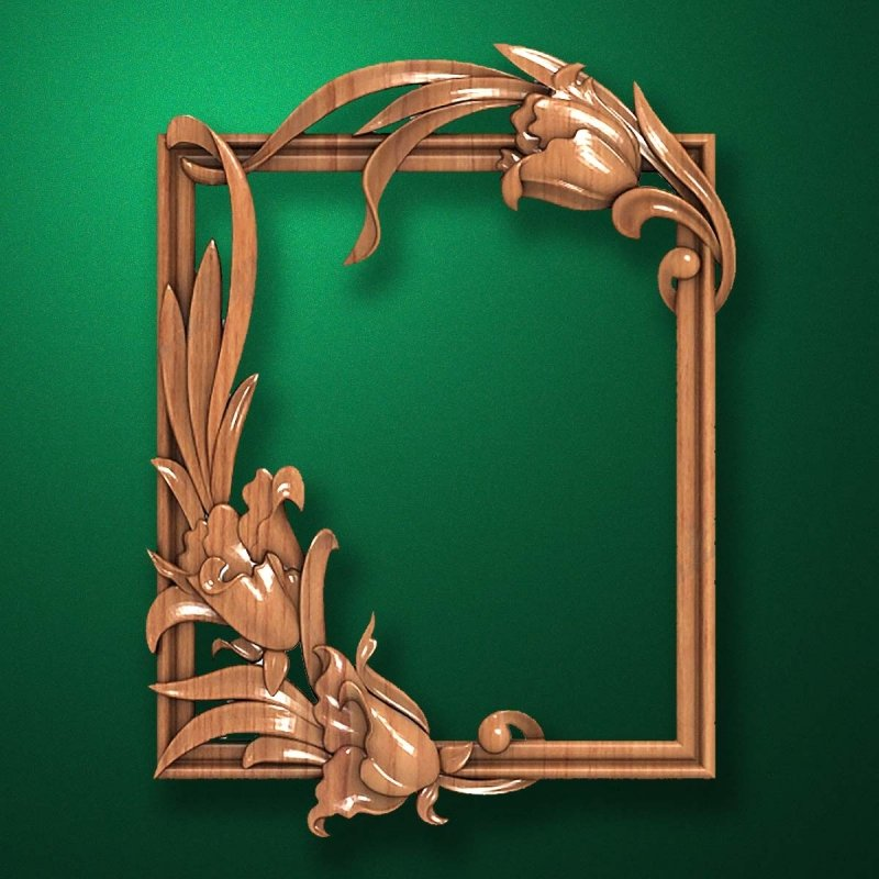 "Carved wood frame  ""Stylish frame-005"""