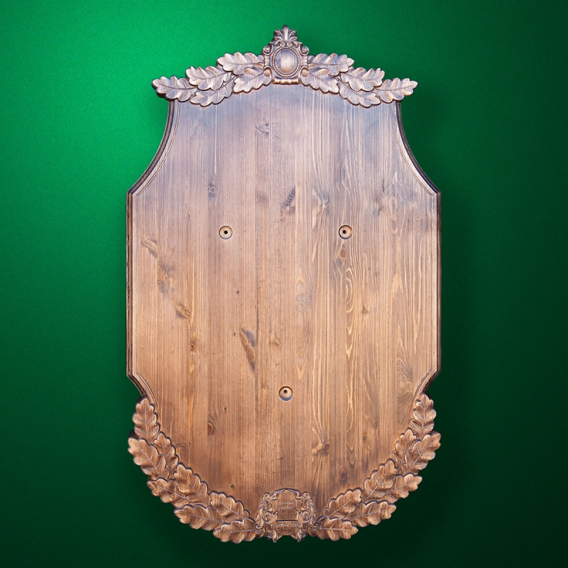 Universal wooden stand-medallion for hunting trophy (Oak sketch)