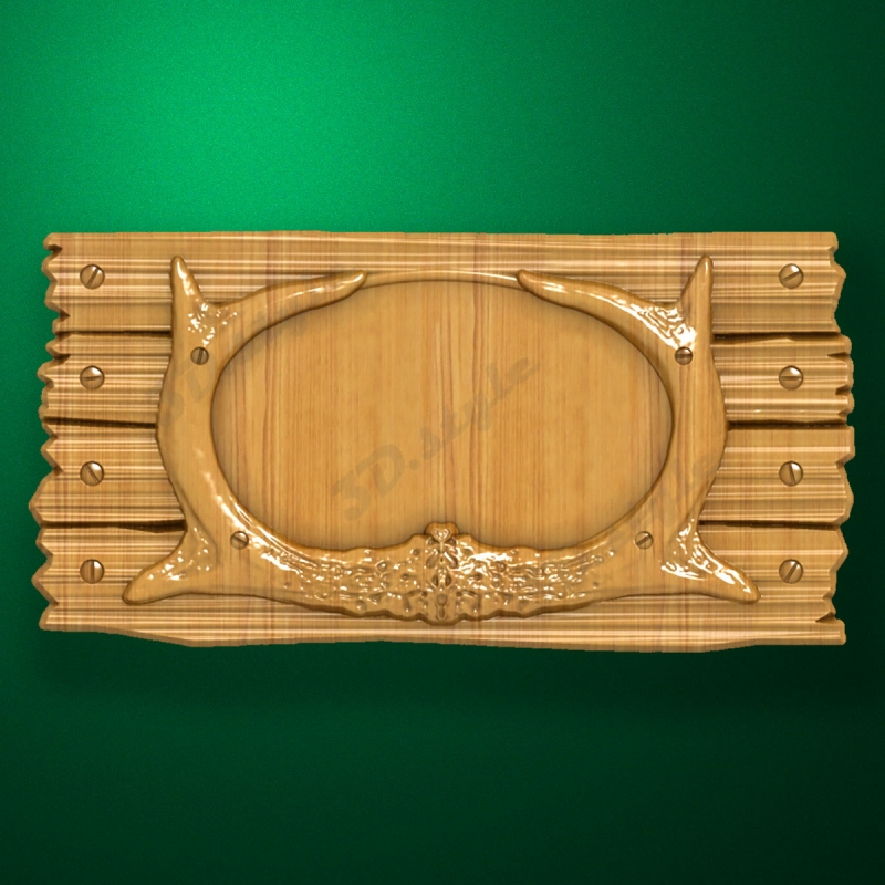 Wooden stand-medallion for hunting trophy (Stylized board)