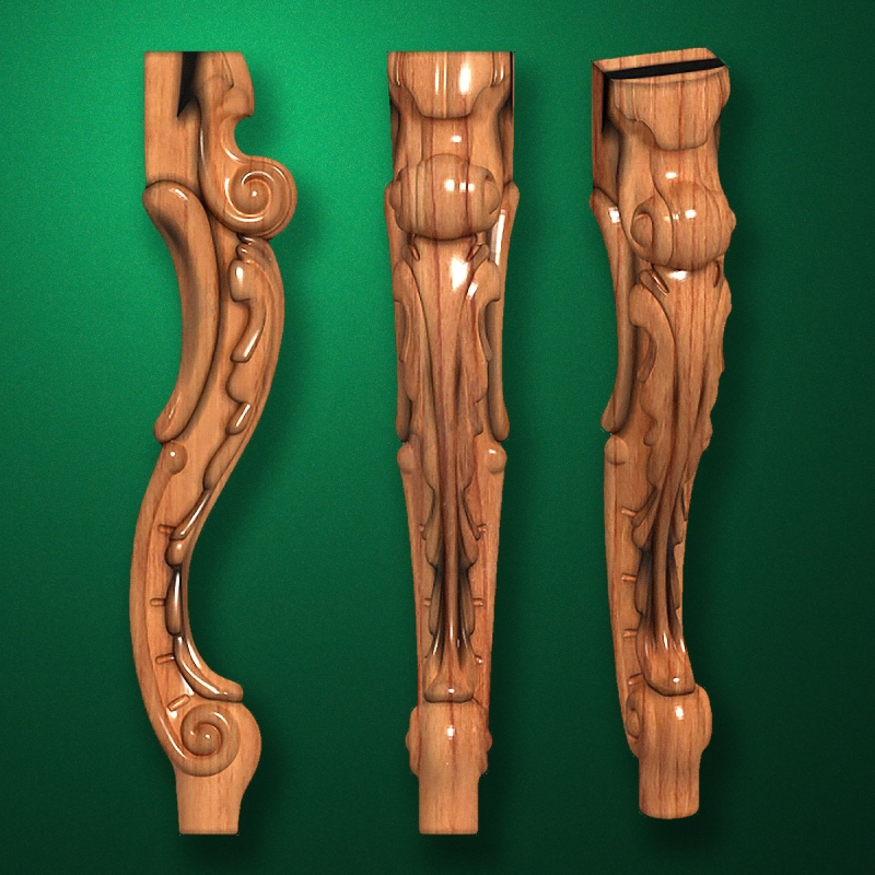 Caved wooden legs for furniture (Code 50017)