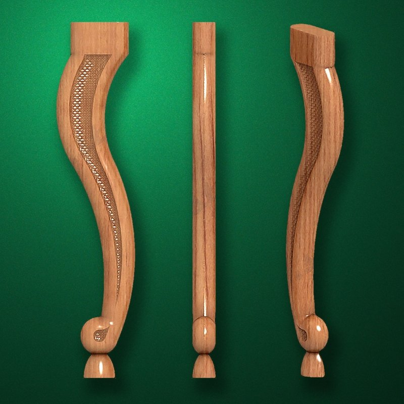Image - Caved wooden legs for furniture (Code 50021)