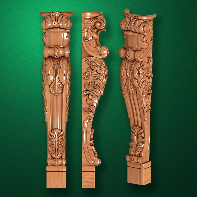 Caved wooden legs for furniture (Code 50025)