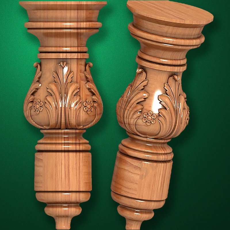 Caved wooden legs for furniture (Code 50034)