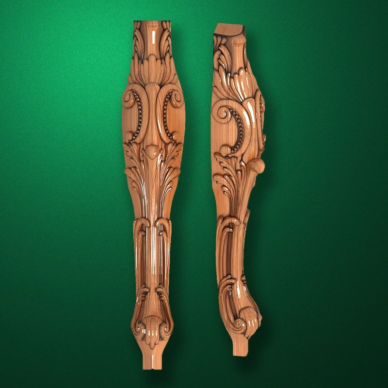 Caved wooden legs for furniture (Code 50041)