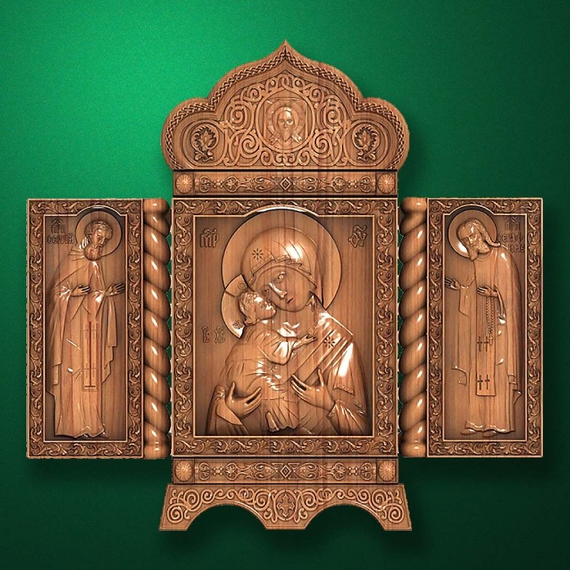 Folding carved iconostasis-triptich