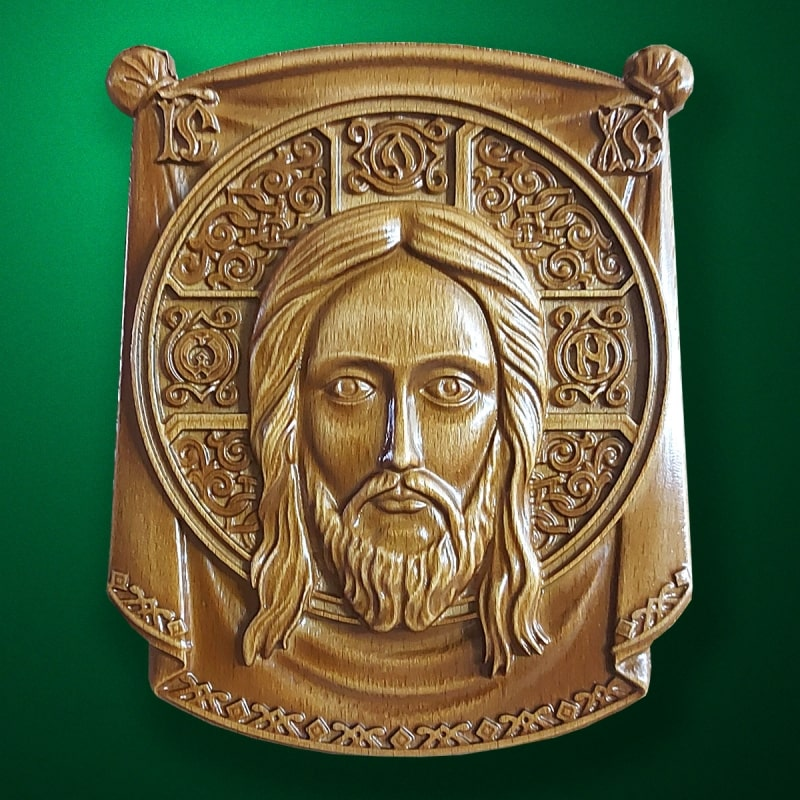 """Wood carved Icon """"Holy Face"""""""