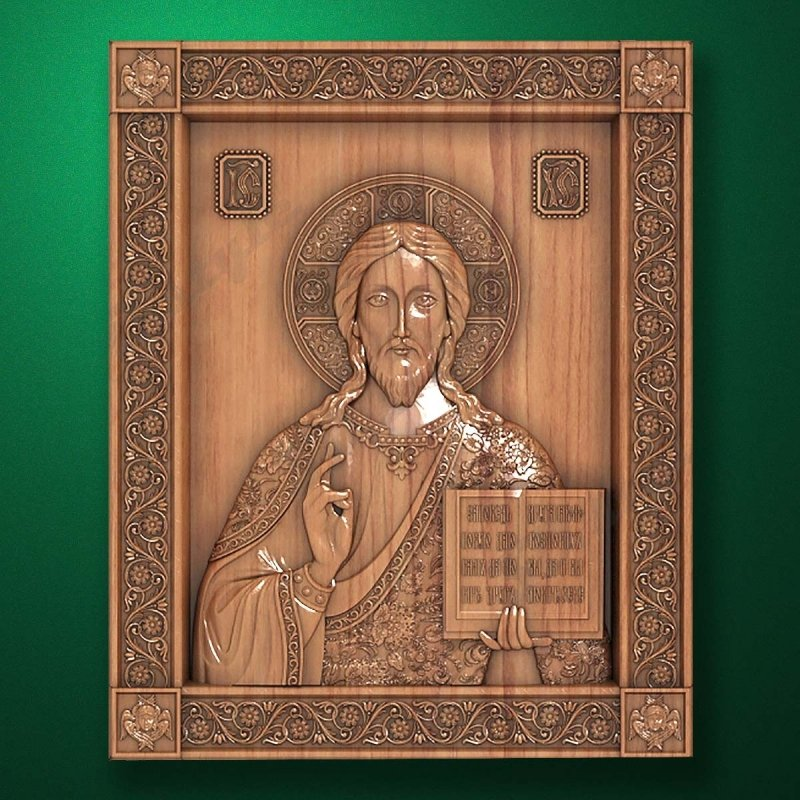 """Carved wood icon """"Christ Pantocrator"""""""