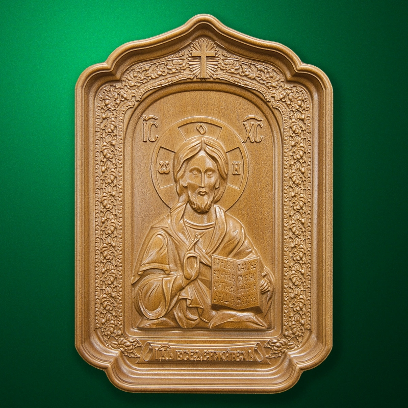 """Carved wood Icon """"Jesus Christ"""" (code 77011)"""