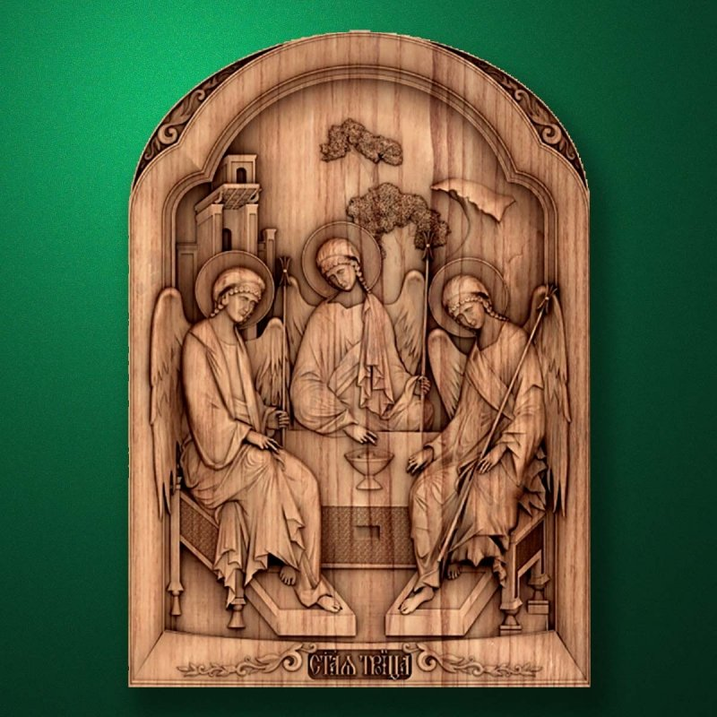 """The wood carved icon """"Holy Trinity"""""""