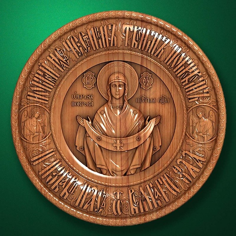 "Carved wooden icon ""Mother of God"" (77305)"