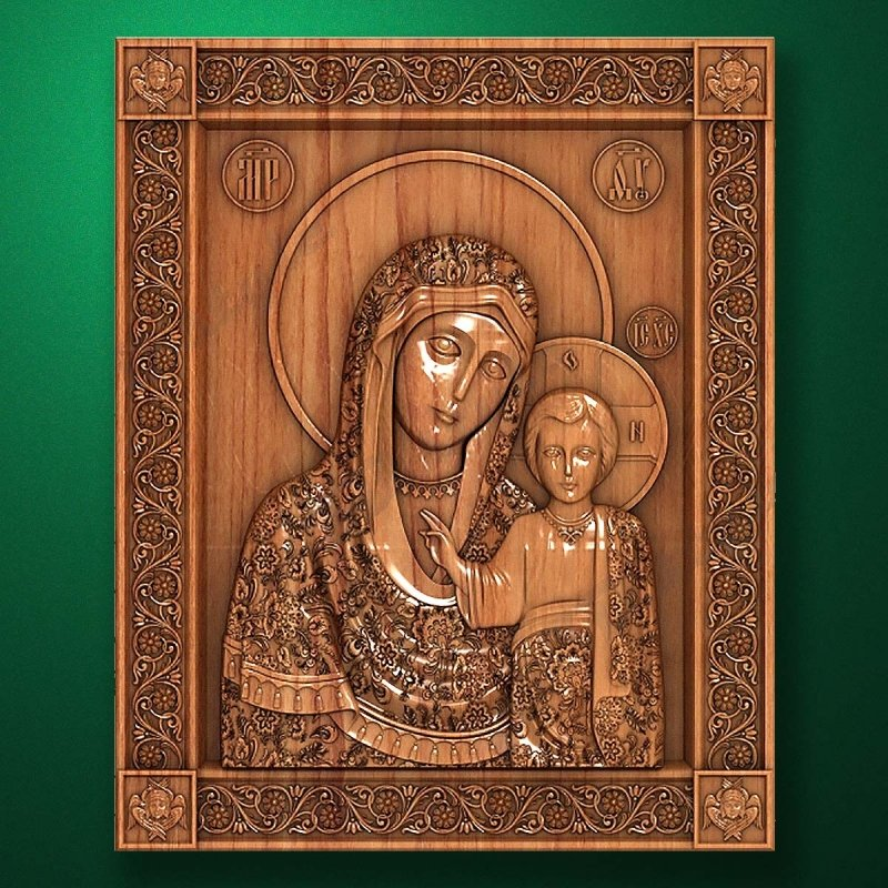"Carved wooden icon ""Mother of God"" (77313)"