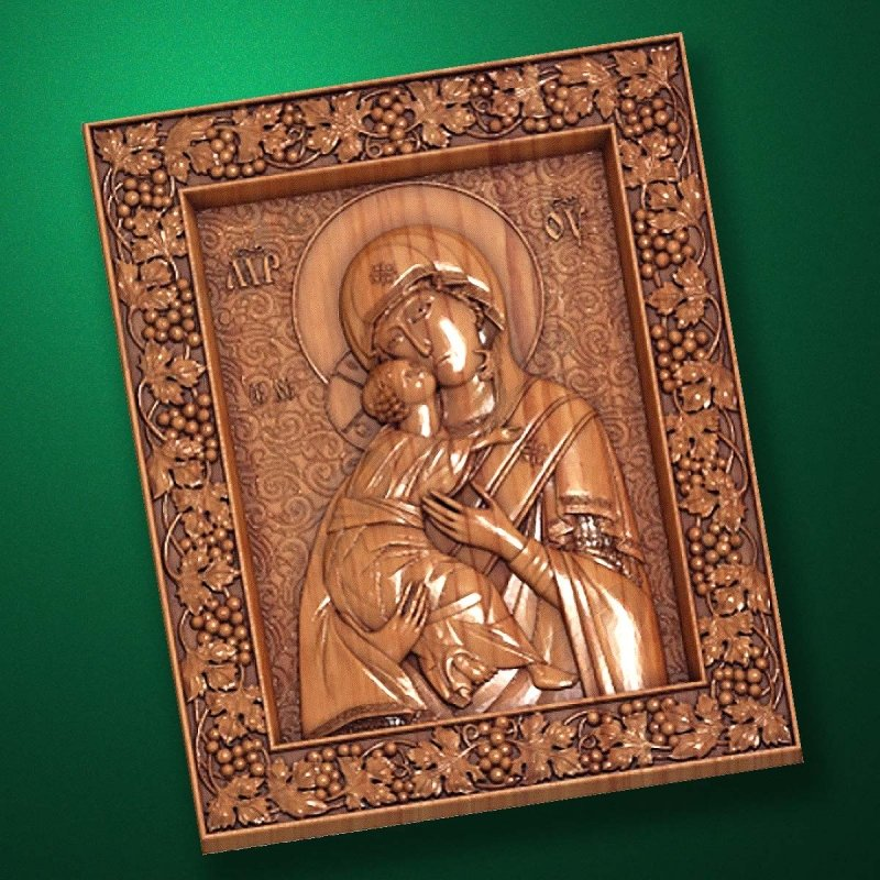 "Carved wooden icon ""Mother of God"" (77316)"