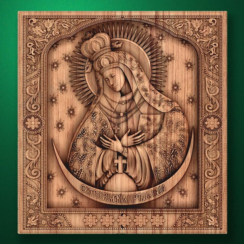 """Carved wooden icon """"Mother of God"""" (77321)"""