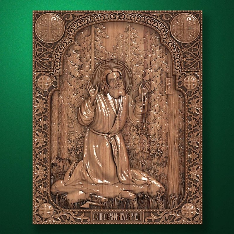 "Carved wood icon ""Seraphim of Sarov"""