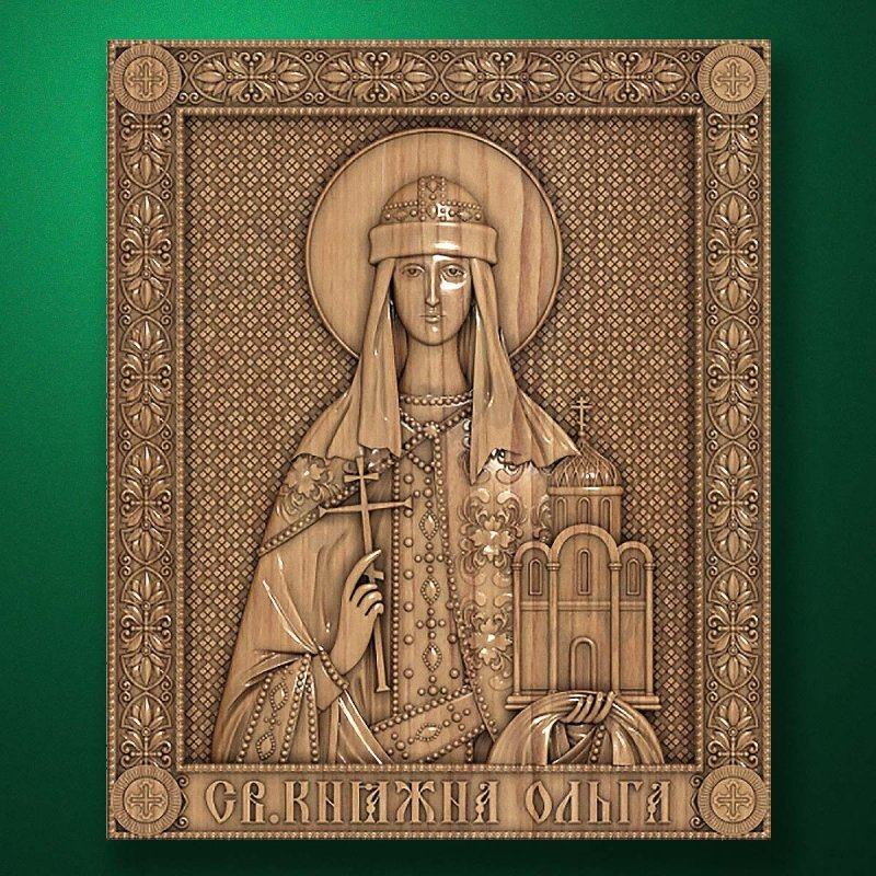"Carved wood icon ""Holy Princess Olga"""
