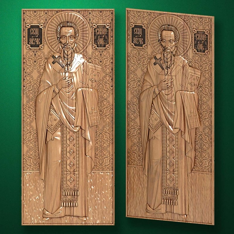 "Carved wood icon ""St. Simeon Stylites"""