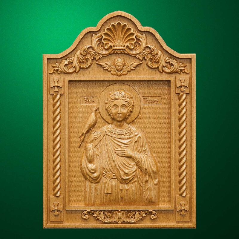 Carved wooden icon - Ноly Triphon (Code 77603)