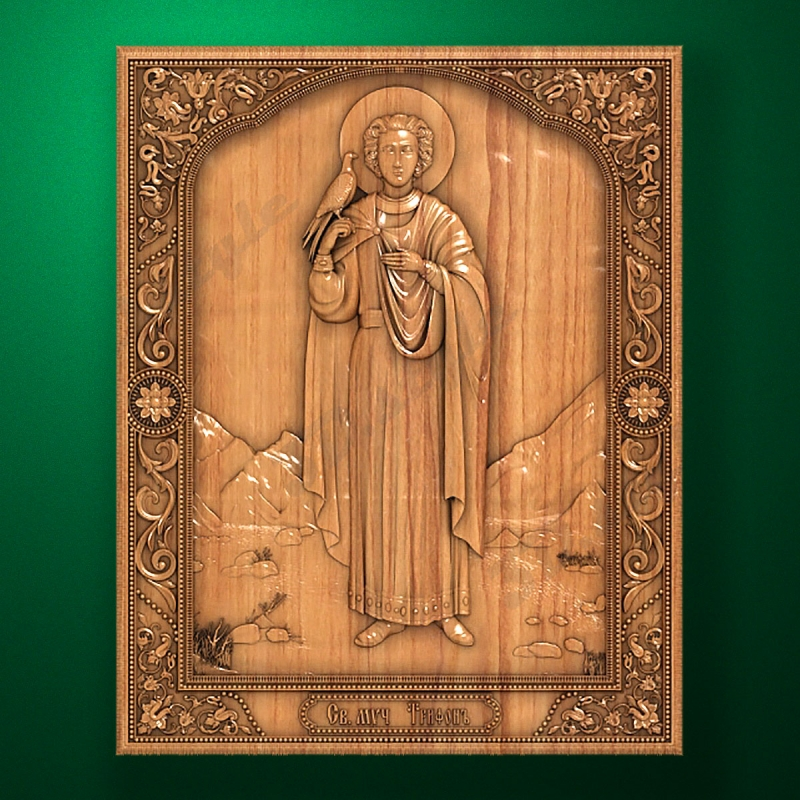 Carved wooden icon - Ноly Triphon (Code 77605)