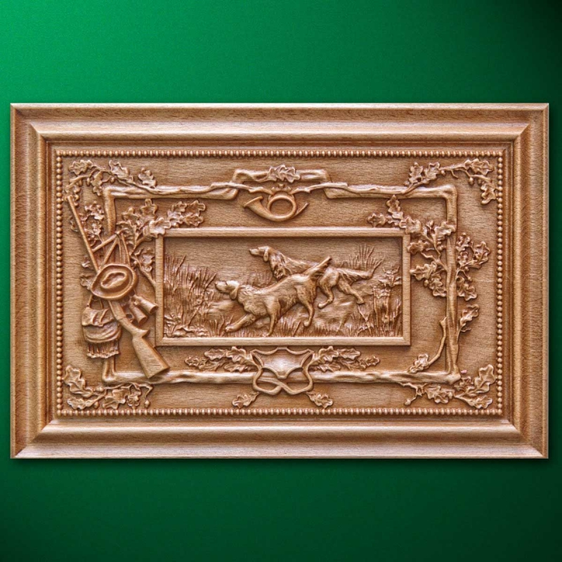"""Carved wood panel """"Setters"""""""