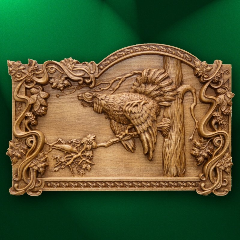 "Carved panel ""The song of the wood grouse"""