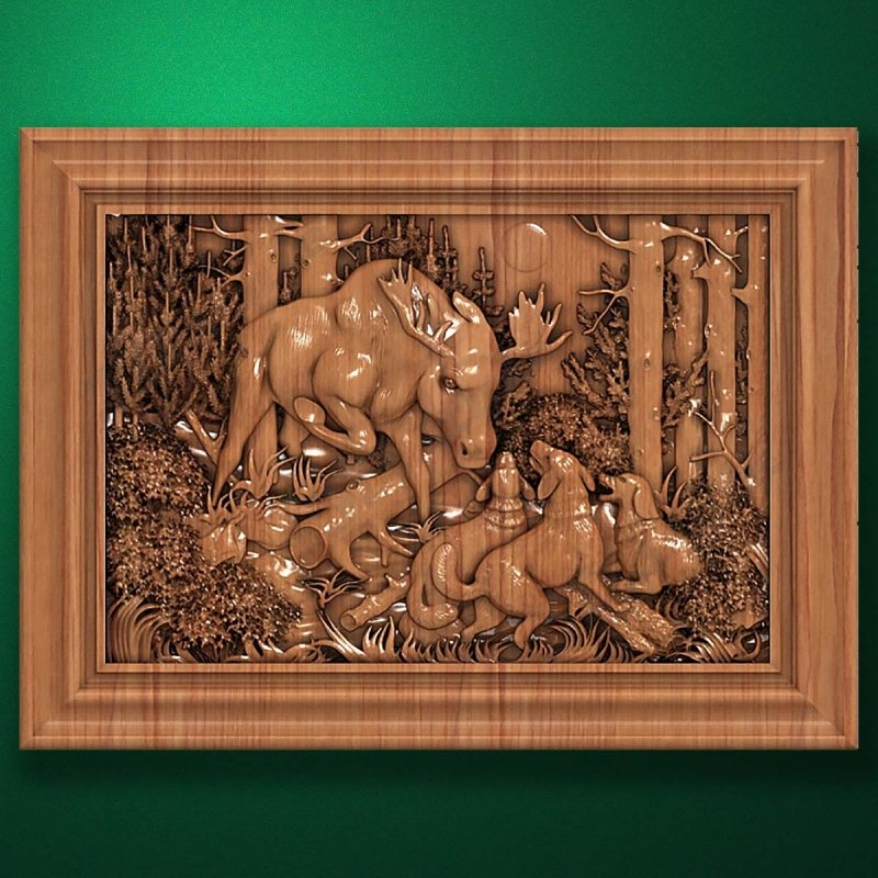 "Carved wood panel ""Moose Hunting"""