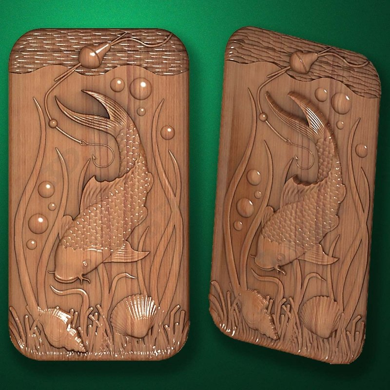 "Carved wood panel ""Carp"""