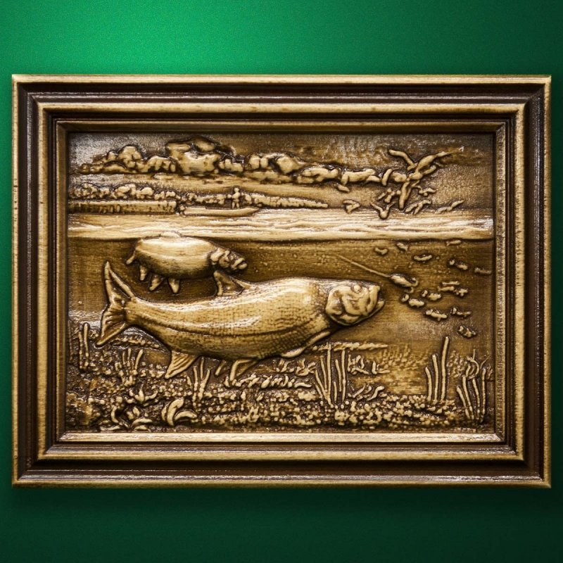 "Carved wood panel ""Salmon fishing"""