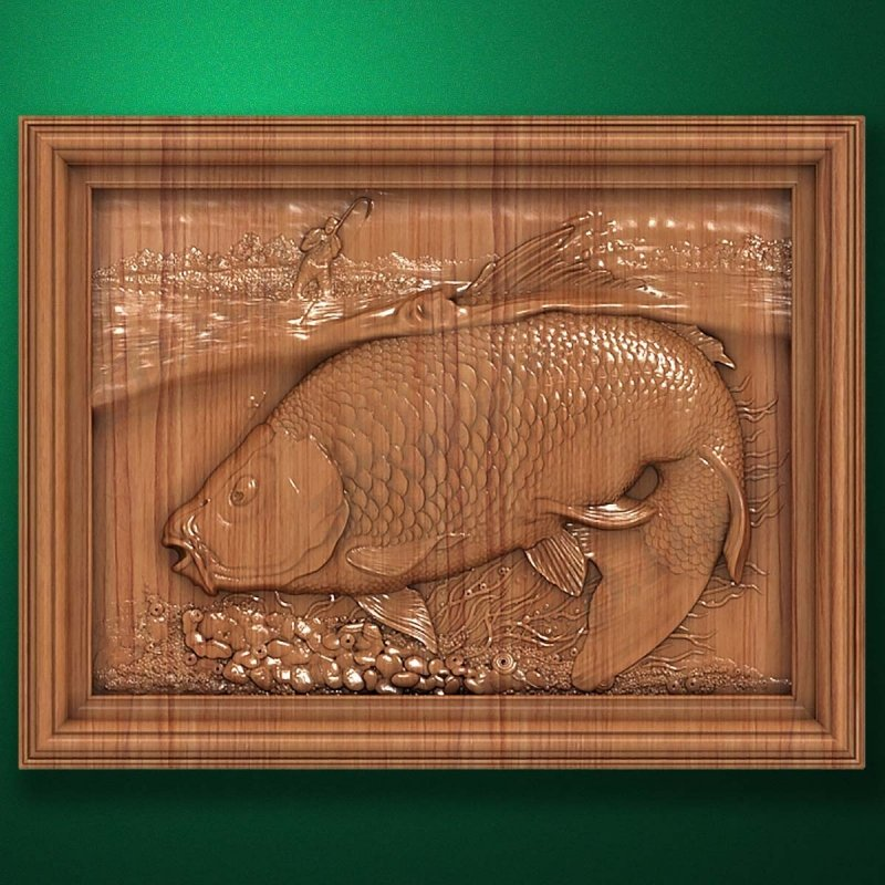 "Wood carved panel ""In the fight against carp"""