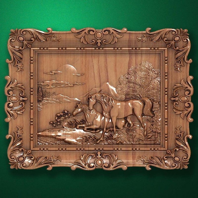 "Carved wood panel ""Horses"""