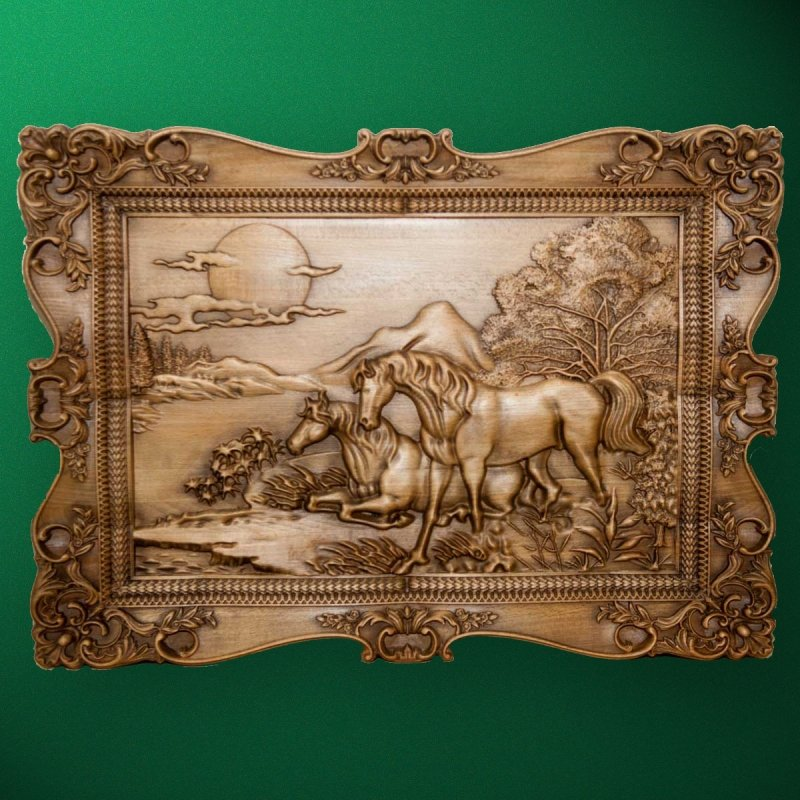 "Carved wood panel ""Horses near the lake"" (R02)"