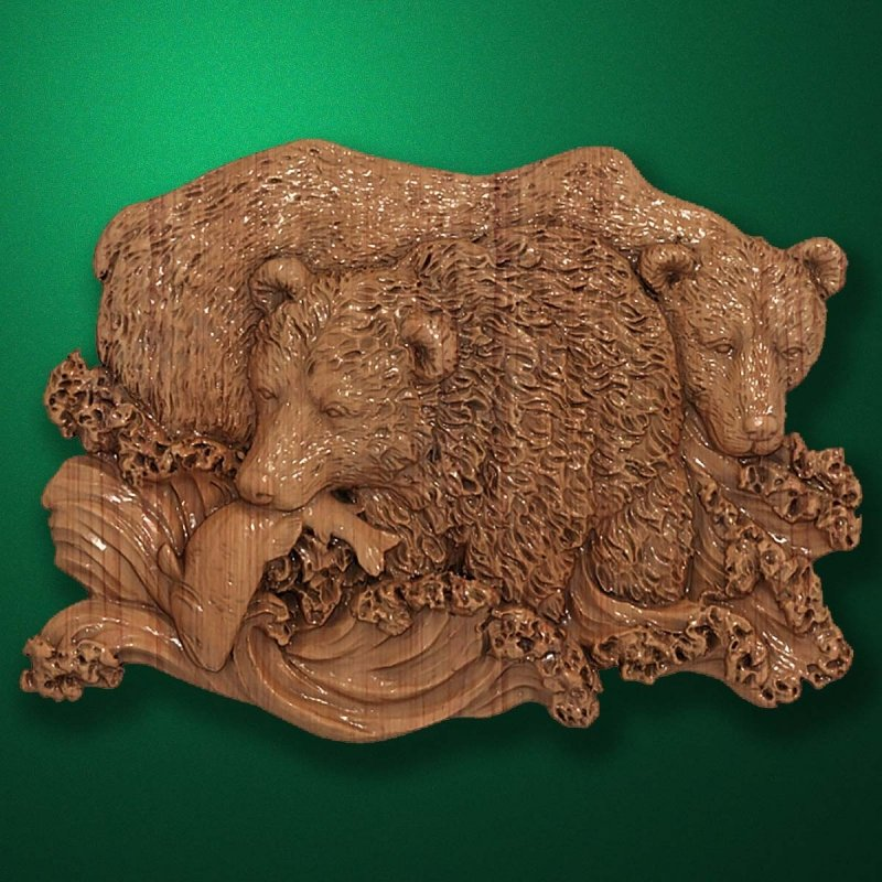 """Carved wood panno """"Bears fishing"""""""