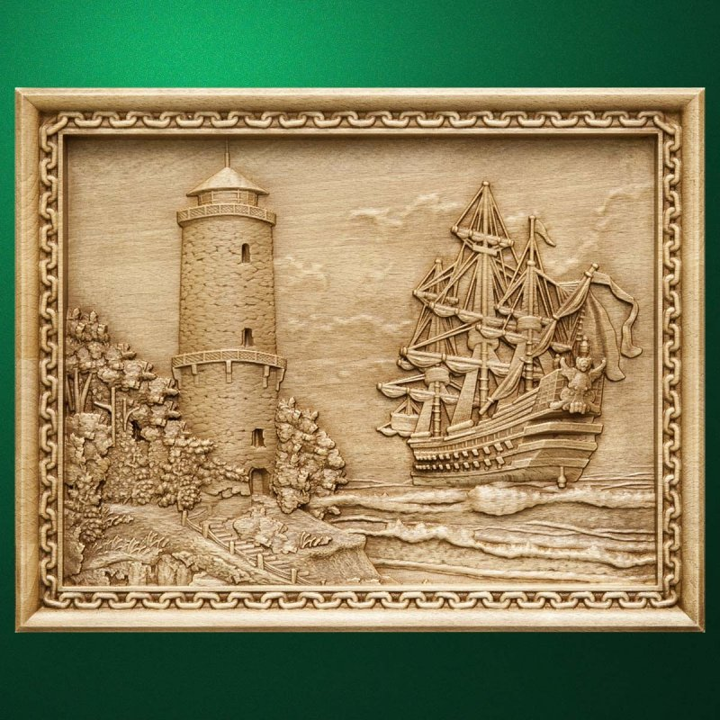 "Carved wood panno ""Lighthouse and Sailboat"""