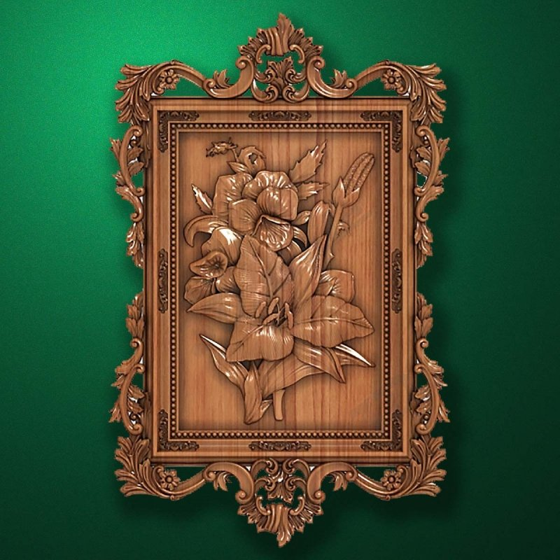 "Carved wood panno ""Floral bouquet"""