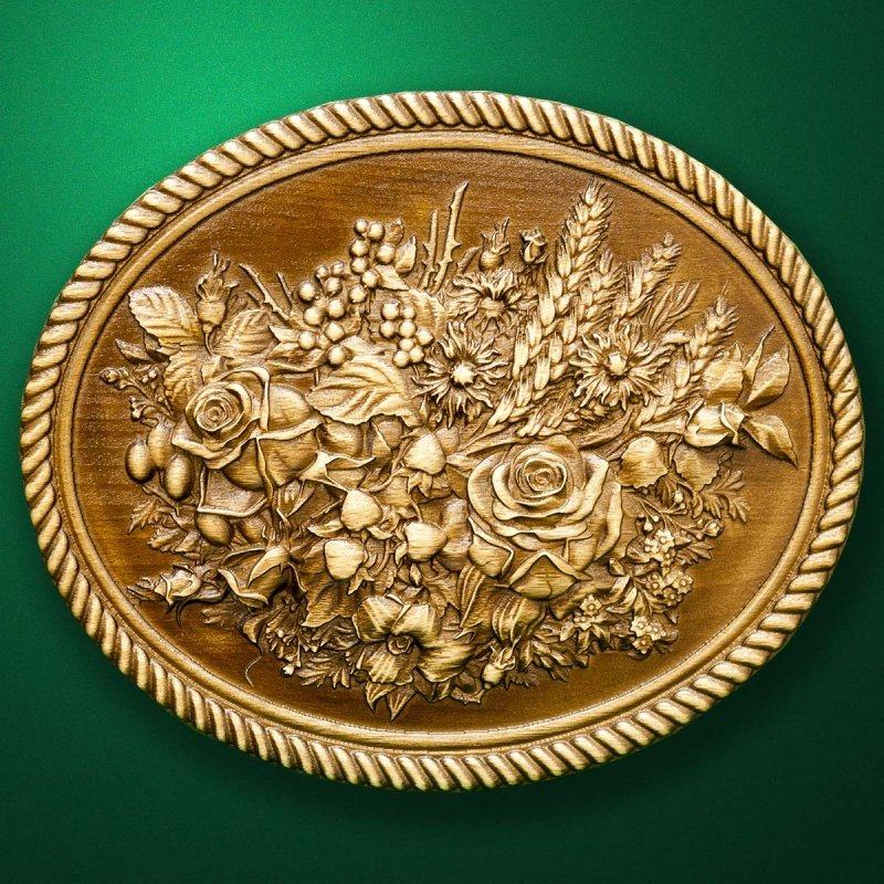 """Carved wood panno """"Flowers and berries"""""""