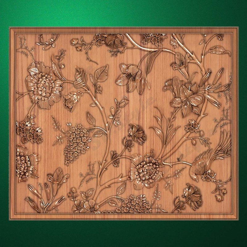 "Carved wood panels ""Summer flowers"""