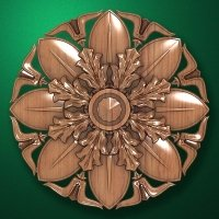 "Carved wood decor ""Central element-048"""