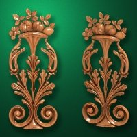 Image - Carved vertical wooden or MDF decorative onlay. Code 14205