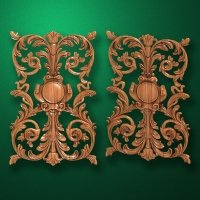 Image - Carved vertical wooden or MDF decorative onlay. Code 14206