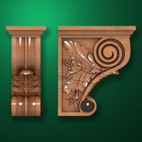 "Carved wood decor ""Bracket element-004"""